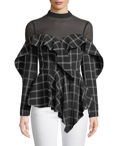 Long-Sleeve Check Ruffle Handkerchief Top