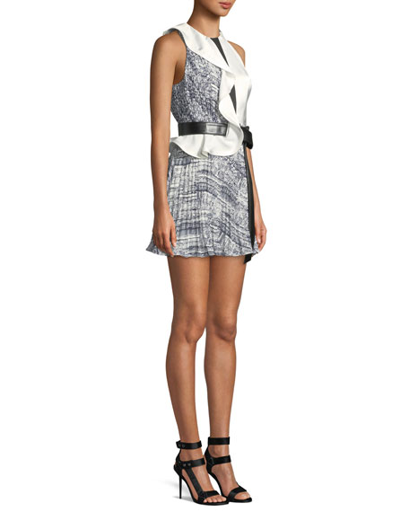 Belted Contrast Frill Mini Dress