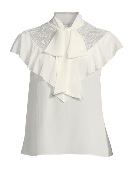Terry Tie-Neck Ruffle Blouse
