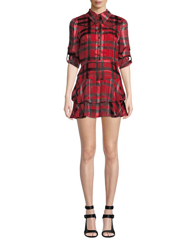 Hazeline Roll-Cuff Tiered Shirtdress