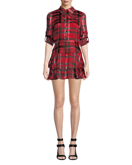 Alice + Olivia Hazeline Roll-Cuff Tiered Shirtdress