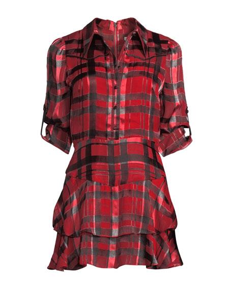 Hazeline Roll-Cuff Tiered Shirtdress