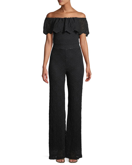Positano Off-the-shoulder Jumpsuit in Diamond Lace