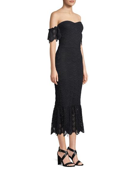 Victorian Flutter Lace Off-the-Shoulder Cocktail Dress