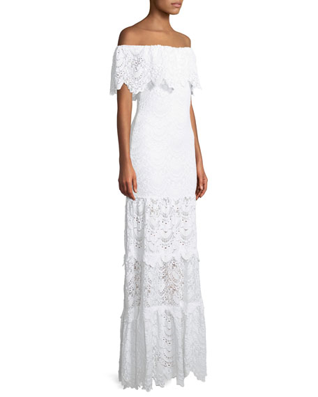 Spanish Lace Positano Off-the-Shoulder Maxi Dress