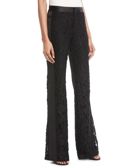 Nimma Flared-Leg Lace Tuxedo Pants, Black