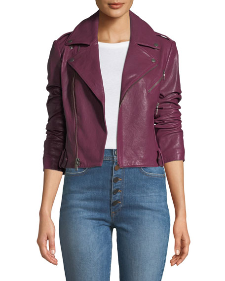 Alice + Olivia Cody Crop Lamb Leather Moto