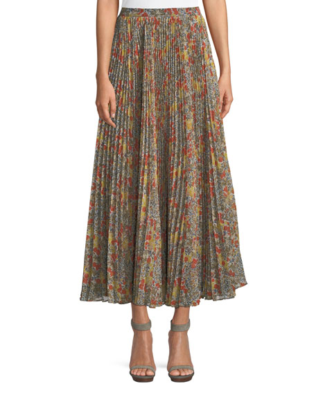 Phylicia Pleated Floral Maxi Skirt