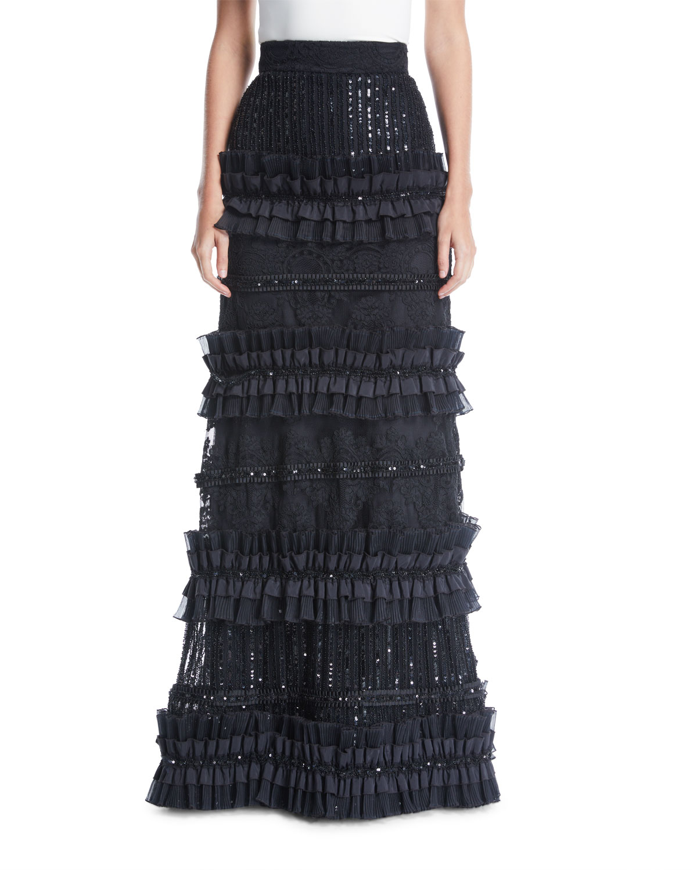Alice + Olivia Samia Pleated Tier Ball Gown   Neiman Marcus