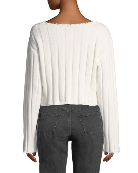 Raw-Edge Cropped Pullover Sweater