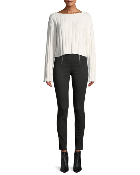 Paneled Body-Con High-Rise Pants