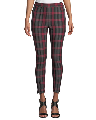Fitted Stretch Plaid Leggings with Zippers
