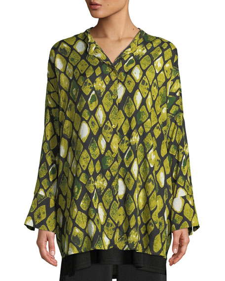 Masai Irma Long-Sleeve Blouse in Diamond Print