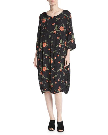 Floral-Print Shantung Dress