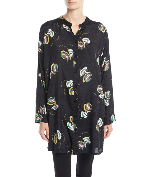 Iria Night Flower Long-Sleeve Blouse