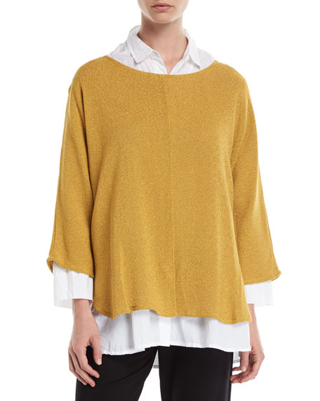 MASAI Benja Oversized Boucle Sweater Top in Yellow