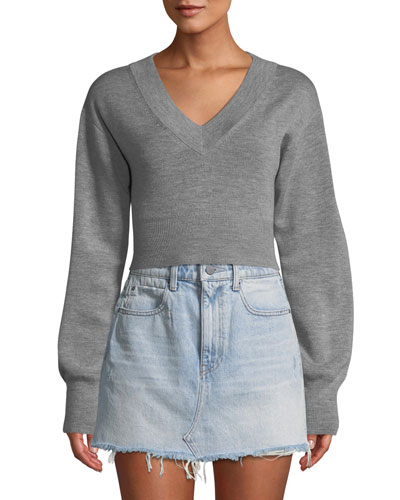 Cropped Twist-Back Merino Sweater