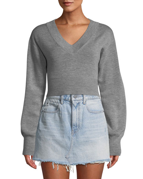 Cropped Twist-Back Merino Sweater