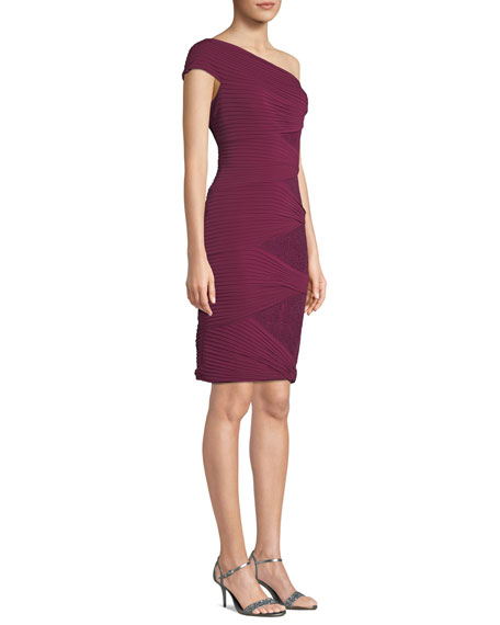 One-Shoulder Jersey Pintuck Dress w/ Sequins