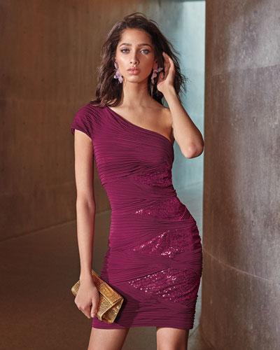 One-Shoulder Jersey Pintuck Dress w/ Sequins