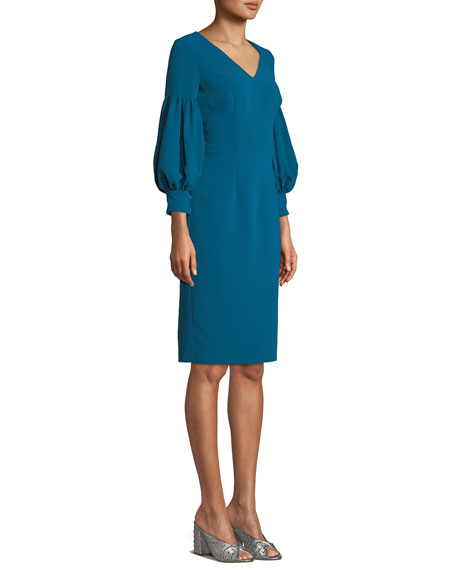 V-Neck Dress w/ Bubble Sleeves