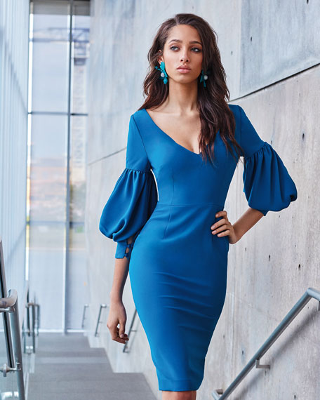 V-Neck Dress w/ Bubble Sleeves