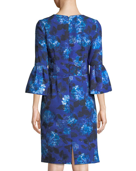 Jewel-Neck Bell-Sleeve Floral-Print Crepe Sheath Cocktail Dress
