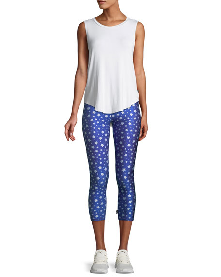 Star-Print Camo Tall Band Capri Leggings