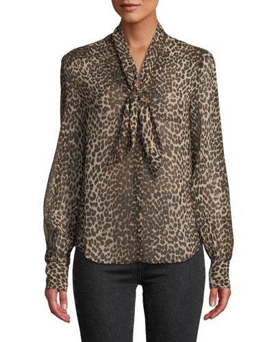 Cleobelle Leopard-Print Tie-Neck Blouse