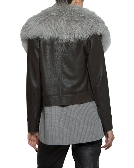 Leather Moto Jacket w/ Mongolian Lamb Fur Collar
