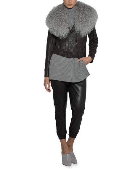 Eleventy Leather Moto Jacket w/ Mongolian Lamb Fur