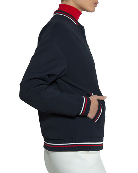 Jersey Zip-Front Bomber Jacket w/ Floral Embroidery