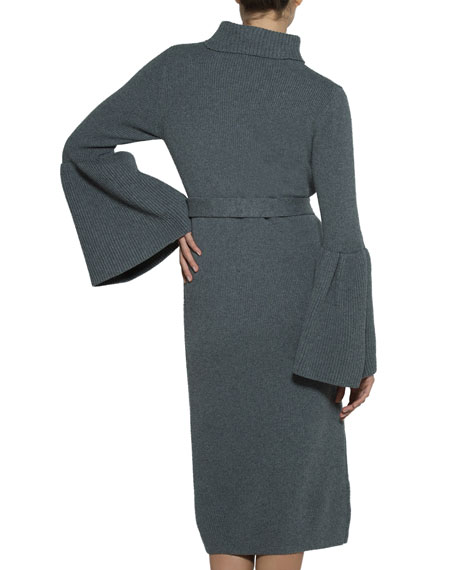 Flare-Sleeve Belted Turtleneck Sweaterdress
