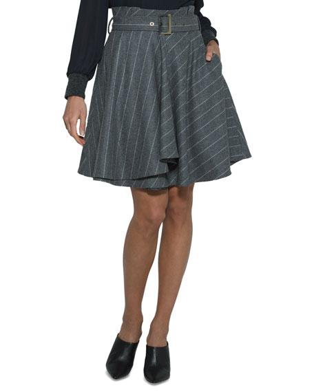 Pinstriped Wool Circle Skirt