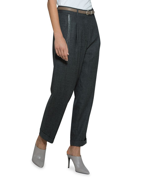 Wool Cropped Pants with Embroidered Chain