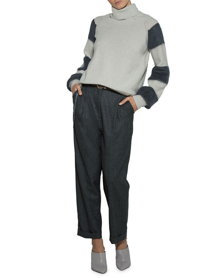 Striped-Sleeve Turtleneck Sweater