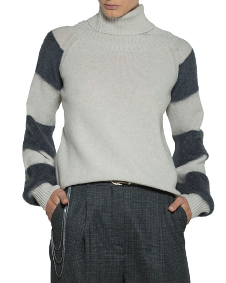 Eleventy Striped-Sleeve Turtleneck and Matching Items & Matching