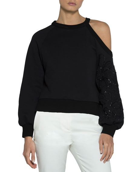 Eleventy Floral-Embroidered Jersey Cold-Shoulder Pullover Top