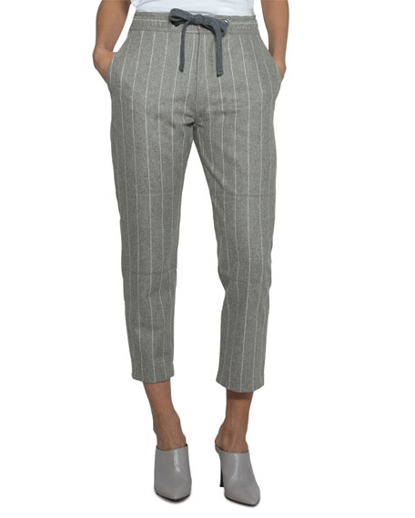 Pinstriped Wool Drawstring Pants