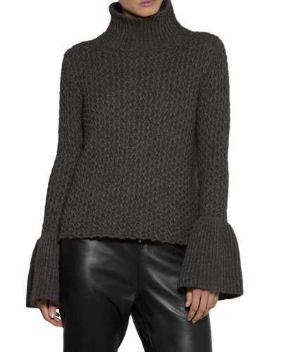Textured Knit Flare-Sleeve Turtleneck Sweater