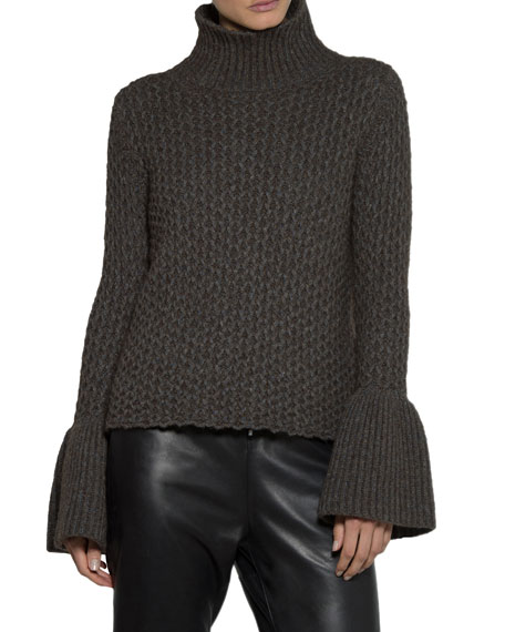 Eleventy Textured Knit Flare-Sleeve Turtleneck Sweater