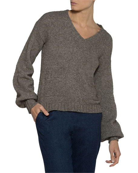 V-Neck Yak-Wool Pullover Sweater