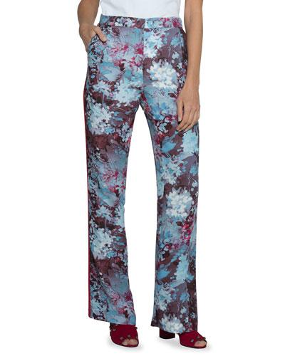 Floral-Print Cady Pants