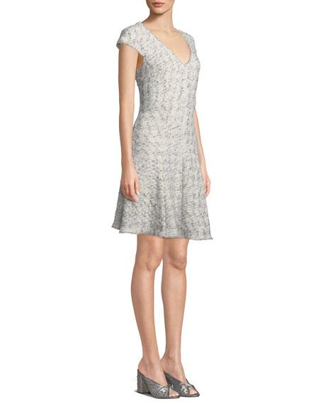V-Neck Sleeveless Speckled Tweed A-Line Dress