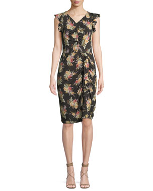 fa79c034a9 Rebecca Taylor Ruched Sleeveless Floral-Print Ruffle Dress