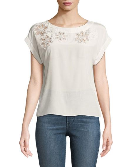 Silk Floral Cutout Short-Sleeve Blouse