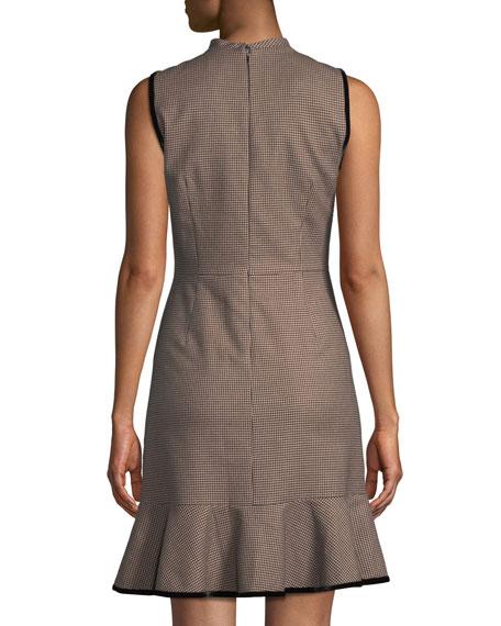 Sleeveless High-Neck Houndstooth Short Dress