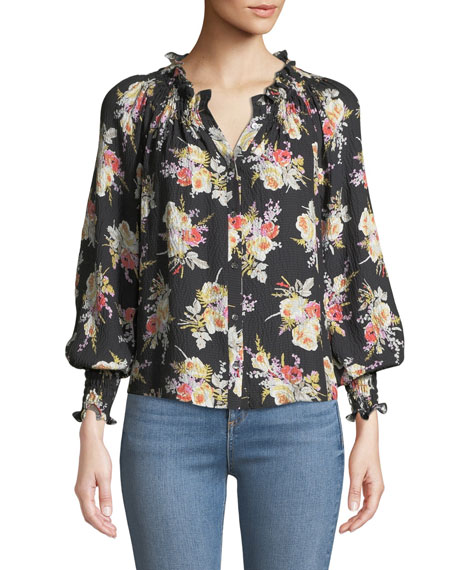 Floral-Print Silk Button-Front Top