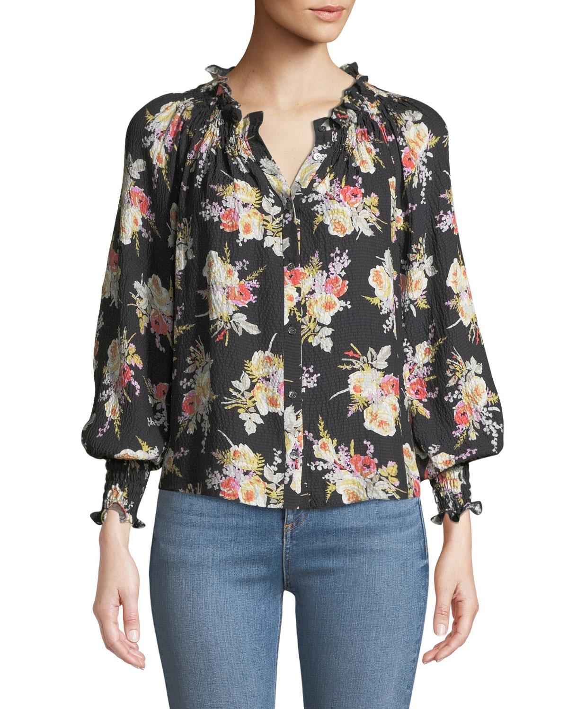 8623f6a762fa Rebecca Taylor Floral-Print Silk Button-Front Top