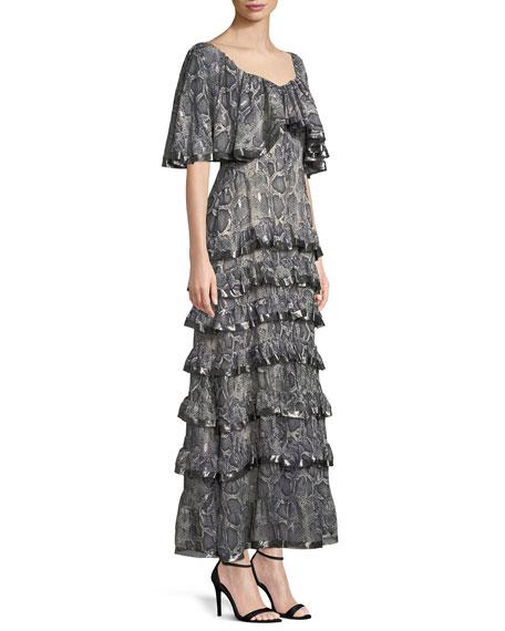 Tiered Snake-Print Ruffle Maxi Dress